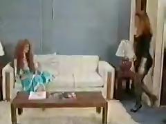 Vintage tranny fucks a girl