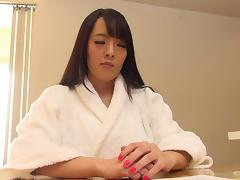 Big tits Japanese stunner delivering a sensuous tit job in pov