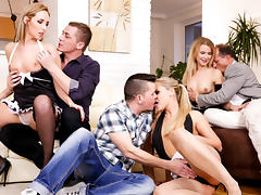 Barra Brass, Jenny Simons, Angel Diamonds in Swinger's Orgies #10, Scene #02
