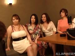 Asian MILFs in a party take turns sucking a guy's cock