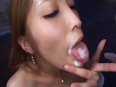 Vixenish Asian milf swallows cum after an erotic pussy drilling