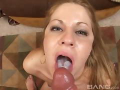 Flirtatious blonde fucked from behind who likes cum in her mouth
