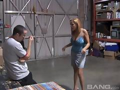 In a warehouse he lays her down and fucks her throat