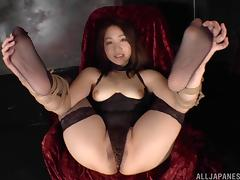 Tied up Japanese girl moans and cums from toy fucking