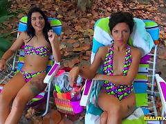 Cuties in colorful swimsuits picked up for a wild threesome
