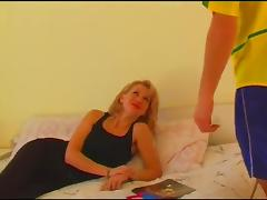 Stunning blonde in stockings is the perfect fuck mate in this juicy bed sex action