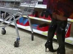 Mature in boots, upskirt, Voyeur