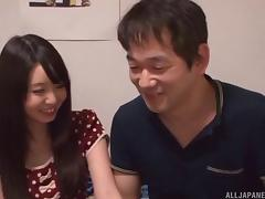 Asian girl invited by the cute neighbor for a dirty time