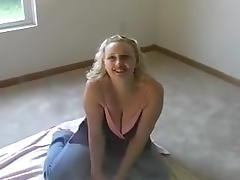 Fat blonde slag sucks off a black dong