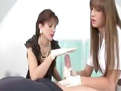 Gloved handjob Lady S