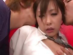 Amazing gang bang along steamy Japanese babe in heats