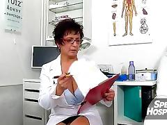 Hot legs lady Hana oily handjob with a boy