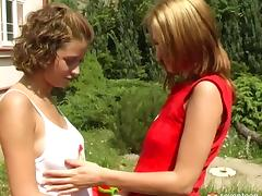 How about watching these two lesbians drilling their muffs outdoors