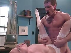 Busty brunette gets a hardcore fucking in doctor's office