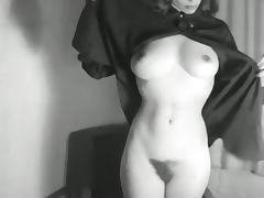 HEELS & HAIR - vintage striptease cheeky big boobs blonde