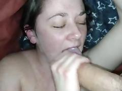 She strokes me and shoots the cum on her face