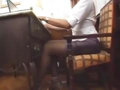 Tgirl and chick hardcore act on a sofa