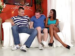 Two guys and a girl have a hot, hardcore bisexual threesome