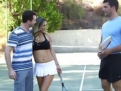 Mini-skirt clad chick with big fake tits enjoying a hardcore threesome