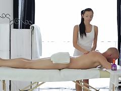 Sensual masseuse takes a good dicking on the massage table