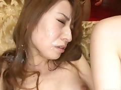 Toying Japanese girl cums then has him cum all over her face