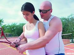 Skinny teen girl likes playing tenis but she likes sucking cock more