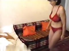 Pretty mature brunette girlfriend make sex fun with his young dude friend