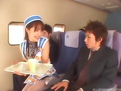 Very nice Asian flight attendant sucks a passenger's cock