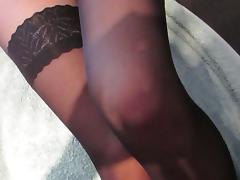cumming on beautiful nylon slut's legs