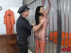 Jail, Big Tits, Fishnet, Handjob, Jail, Latina