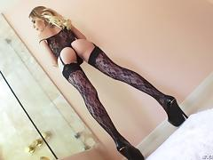 Alluring blonde in sexy lingerie has her smooth butthole fucked hard