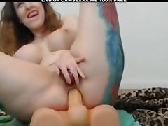 Tattooed Girl With Big Tits Riding Dildo