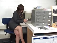 Asian MILF has her pantyhose ripped and pussy fucked in the office