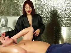 Stunning redhead babe likes giving massages and sucking men's dicks