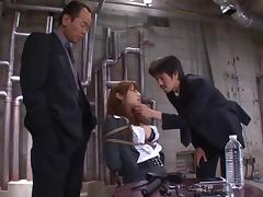 Kinky Asian in bondage suffers and takes dick from horny guys