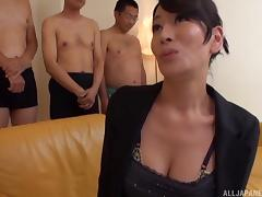 Stunning mature Japanese woman in lingerie gets a facial cumshot
