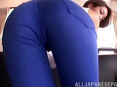 Fully clothed Japanese woman has her pussy rubbed and played with