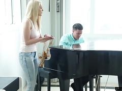 Her piano teacher gives her a lesson then fucks her hard