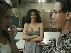 Slutty brunette bitches sucking a guy's dick in his workshop