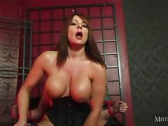 Busty Mistress fucks slave and makes him cum in gimps mouth