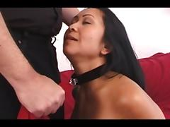 Asian gal-slave spanked hard by a guy before getting a blowjob