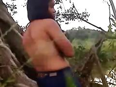 Cute latina girl gets missionary fucked in nature near the lake