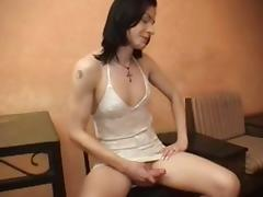 Interracial act with a slim tranny chick