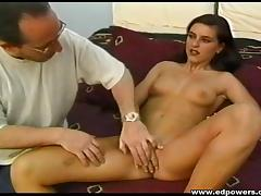 Bitch in high heels and pantyhose gets a load of cum on her pussy