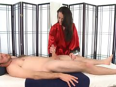 Brunette masseuse with natural titties gives a super hot blowjob