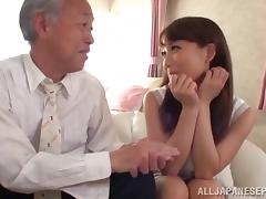 Old Japanese guy buries his dick in her teen pussy