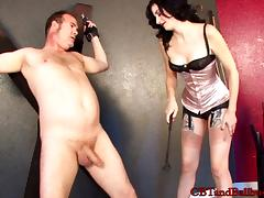 A cute lady using fetish sex toys to please her lover
