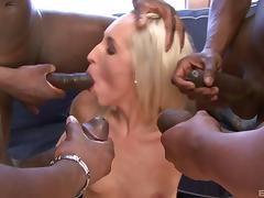 Dirty blonde whore gangbanged by black cocks