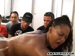 Group of guys watch as a black girl gets fucked by a white guy
