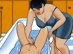 Wife  making a handjob in the bath cartoon